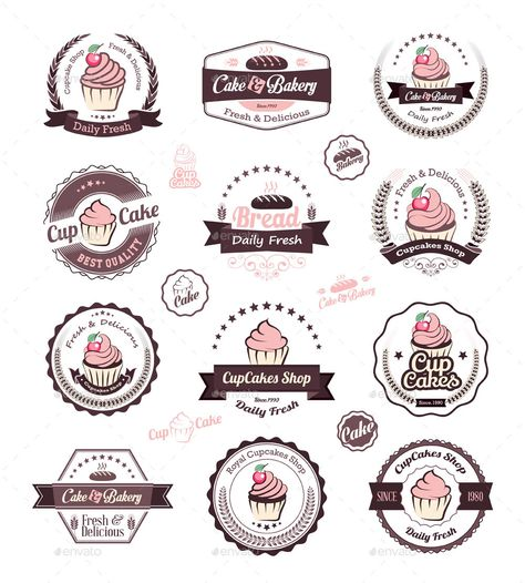 Buy Cupcakes Vintage Labels by Avantgraph on GraphicRiver. Vintage retro cupcakes bakery badges and labels Vector cupcakes is an vintage badges and labels.