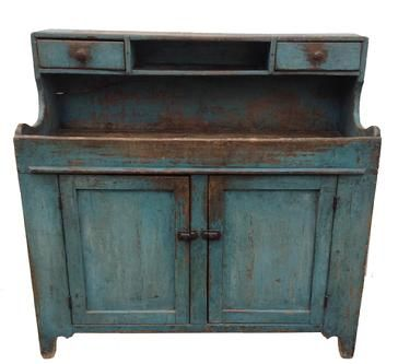 19th Century Pennsylvania Dry sink, robin's egg blue paint