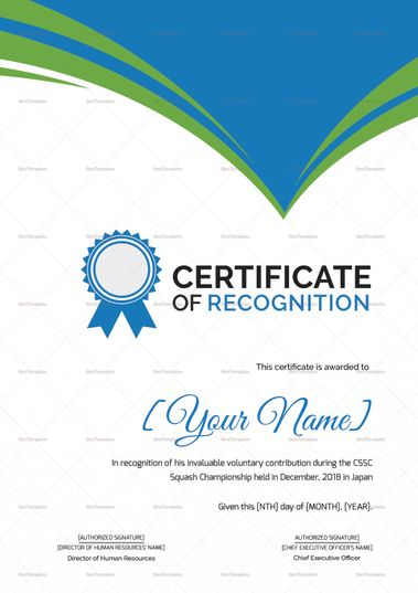 Squash Recognition Certificate Template  Formats Included