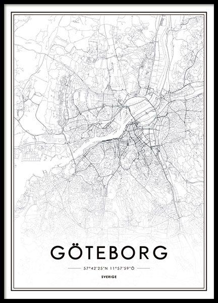 Goteborg Karta Poster Vintage Affischer Planscher Varldskartor
