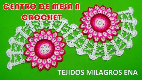 Centro de Mesa o Camino de Mesa Tejido a crochet paso a paso con Flor de...