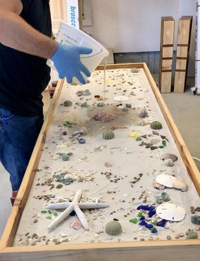 DYS epoxy countertop with shells | Wood table in 2019