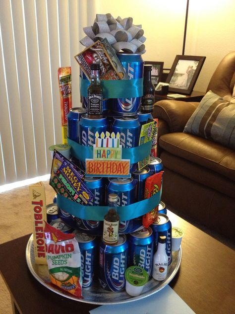 """We would do a Mt. Dew cake! 12"""" round - 13 cans 10"""" round - 9 cans  (just around the edge, not in the center, this layer only) 8"""" round - 8 cans use cake tins instead of cardboard to support the weight of the beer."""