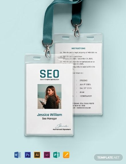 Seo Identity Card Template Free Pdf Word Psd Indesign Apple Pages Illustrator Publisher Identity Card Design Id Card Template Card Templates Free