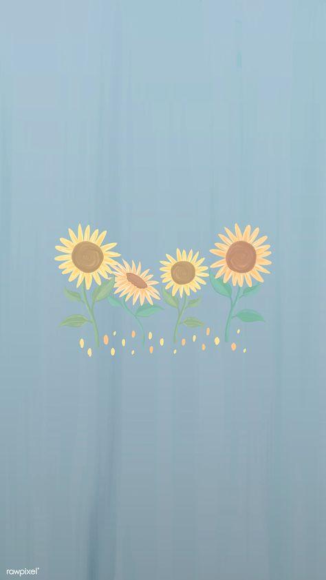 Download premium vector of Hand drawn sunflower mobile phone wallpaper