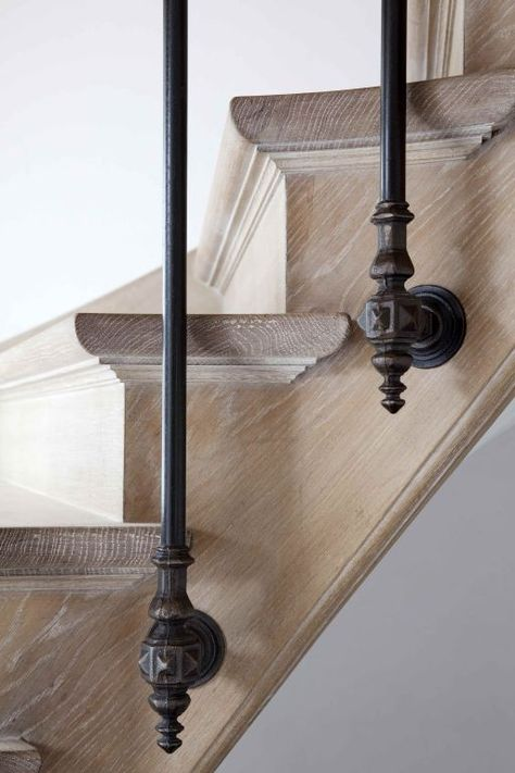 wood and iron staircase detail, made by Trappenmakerij Steels (Hoge Bokstraat, Belgium) - Panissue Share Stair Handrail, Staircase Railings, Banisters, Stairways, Stair Case Railing Ideas, Spiral Staircases, Grand Staircase, Railing Design, Staircase Design
