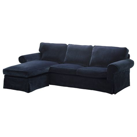 EKTORP Two seat sofa and chaise longue Vellinge dark blue IKEA