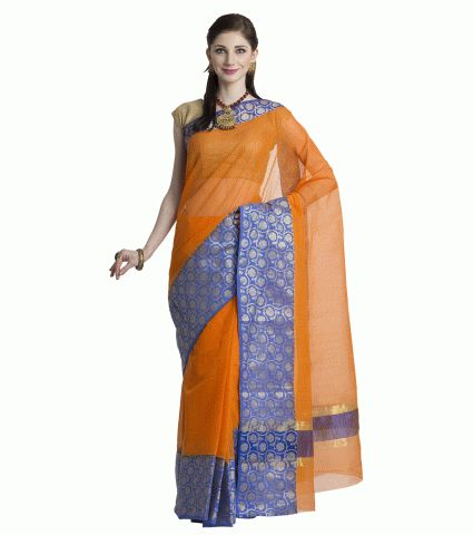 bd367cbde3f03c Add This Kota Sarees Cotton Orange Blue with Golden Zari Border Block  Printed Sari with matching Blouse for Women to your wadrobe.