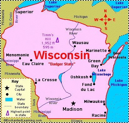 Wisconsin Map Basic With Major Landmarks Illustrated Wisconsin - Wi map with cities