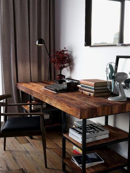 Writing Spaces Home Office Inspiration Blogging Entrepreneurship Homeofficedesk Dark Wood Desk Home Office Decor Reclaimed Wood Desk
