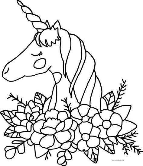 Unicorn And Flowers Coloring Pages - Workberdubeat Coloring