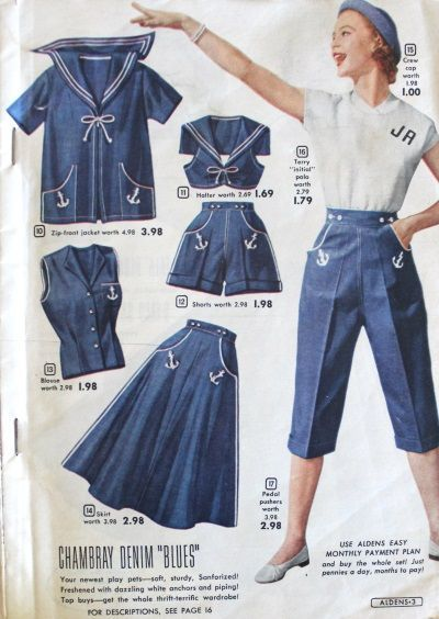 Shorts: Vintage Retro Shorts History 1953 sailor themed outfits, summer fashion More from my siteᵖⁱⁿᵗᵉʳᵉˢᵗ