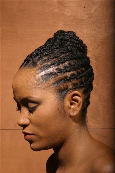 (Hair Style: Elegant Flat Twist Updo)  Length: Short/Above Chin Length