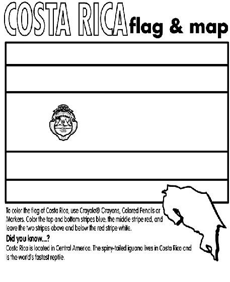 Costa Rica Coloring Page With Images Costa Rica Flag Costa