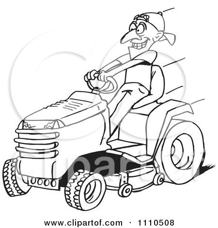 Clipart Black And White Man On A Riding Lawn Mower Royalty Free Vector Illustration By De Clipart Black And White Riding Lawn Mowers Free Vector Illustration