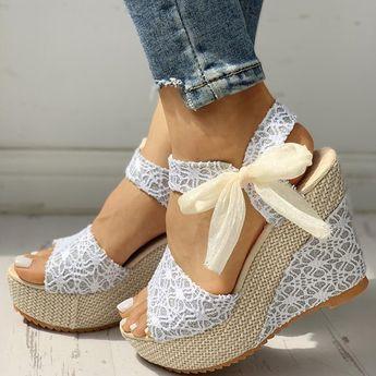 Lace Up Wedge Sandals, Open Toe Espadrilles, Lace Wedges, Wedge Heels, Heeled Sandals, Cute Wedges Shoes, Lace Shoes, Summer Sandals, Beach Sandals