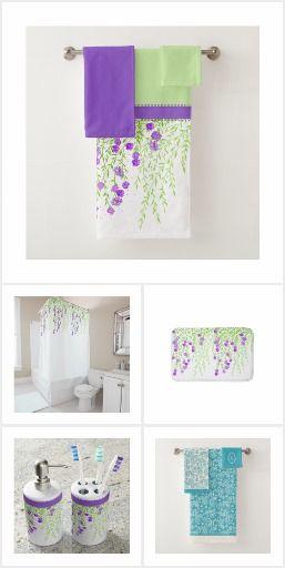 Stylish Bath Decor Sets Wisteria Purple Green Paisley