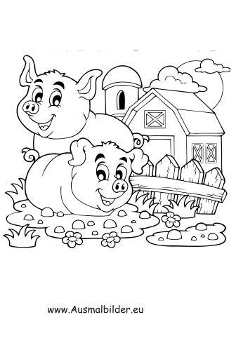 Ausmalbild Gluckliche Schweine Auf Dem Bauernhof Zum Kostenlosen Ausdrucken Und Ausmalen Fur Kinder Ausmalbilder Ausmalbilder Ausmalbilder Tiere Ausmalen