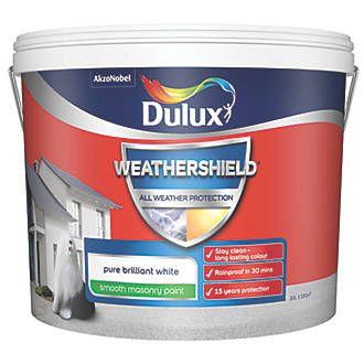 Dulux Weathershield Smooth Masonry Paint Pure Brilliant White 10ltr In 2020 Dulux Weathershield Masonry Paint Pure Products