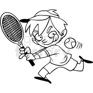 Black And White Cartoon Child Playing Tennis Vector Clipart Royalty Free Clipart 412857 In 2020 Black And White Cartoon Clip Art Black And White