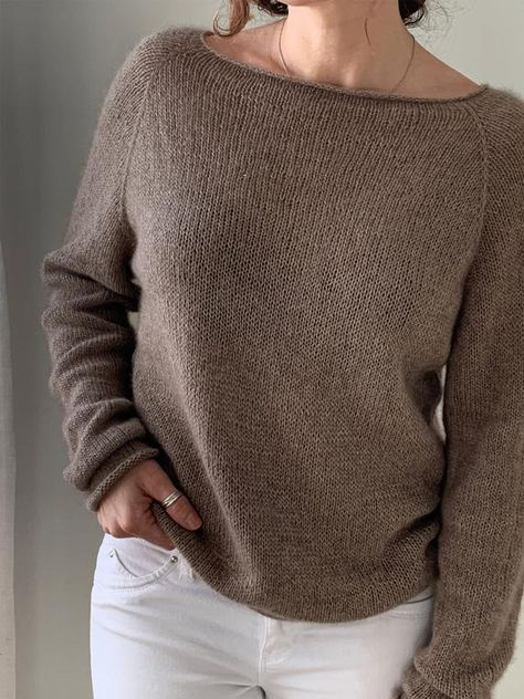 """The Dentelle Douce is simple round neck, light and airy cashmere sweater pattern It is worked top down in the round in stockinette stitch, sleeves and edges are worked with smaller size needles making slight curl on all ends. Sizes XS, S, M, L, XL Bust Size XS 36"""", S 37.5"""", M 39"""", L 41.5"""" , XL"""