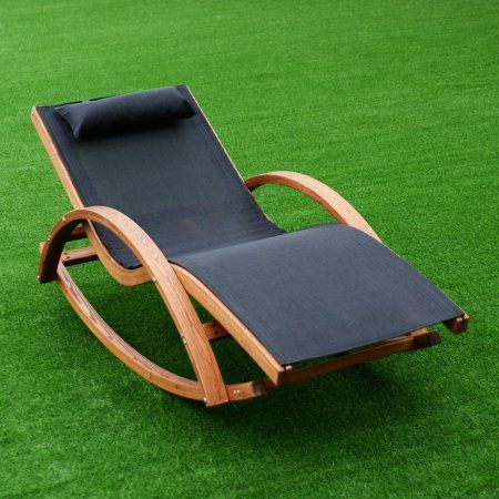 Cool Costway Outdoor Rocking Lounge Chair Larch Wood Beach Yard Evergreenethics Interior Chair Design Evergreenethicsorg