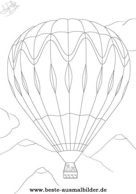 ausmalbild heißluftballon  air balloon air ballon hot