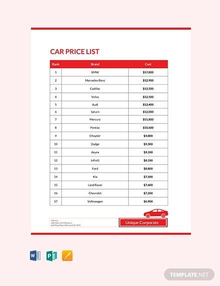 Free Car Price List Car Prices List Template
