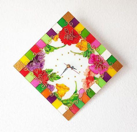 Geometric Flowers Glass Clock Glass Painting Glass Art Floral Painting Wall Clock Wall Decor Vitrail Vitrage Painted Flowers Gift Glass Painting Floral Painting Flower Painting