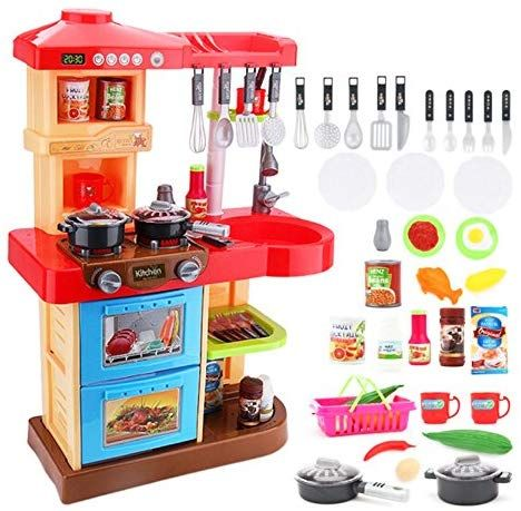Deao Toddler Kitchen Playset My Little Chef With 30 Accessories Role Playing Game In Red Toddler Kitchen Play Kitchen Accessories Best Play Kitchen