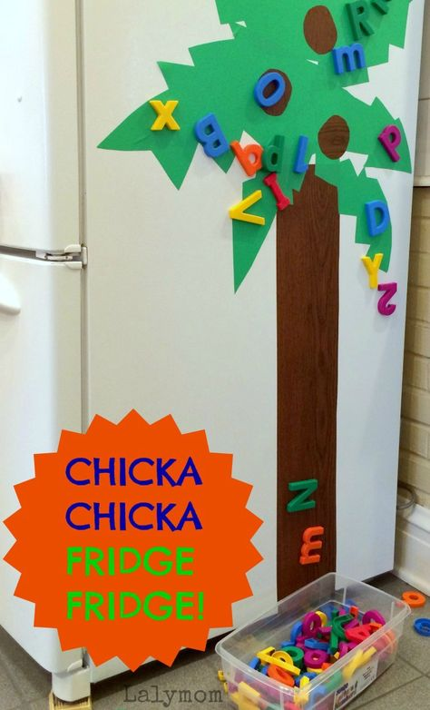 Book Activity for Kids: Chicka Chicka Boom Boom Tree Craft for your Fridge on Lalymom.com - click through for the quick tutorial!