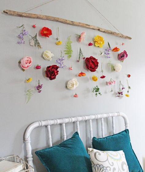 Boho Decor Flower Wall Hanging Boho Wall Decor Boho Flower   Etsy