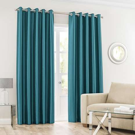 Designed In A Bright Shade Of Teal These Plain Curtains Are Fully Lined To Retain Warmth And Reduce External Light And Feature An Curtains Plain Curtains Home