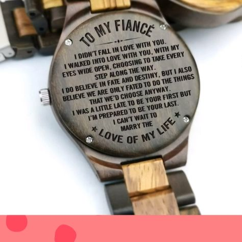 FEATURES:  *Sweet engraving will surely melt his heart   *Real wood material for a unique feel and lasting wear  *Lightweight and soft leather strap   *Stainless steel buckle-type glass for a snug-fit even on rugged day  *Elegant scratch proof hardlex crystal face#woodenwatch #personalizedwatch #bestgift #perfectgift  #giftformom #giftfordad #giftformom #giftfordaugther  #giftforson #giftforboyfriend #giftforanyoccasion #Birthdaygift#gardautiongift #anniversarygift #fiancegift