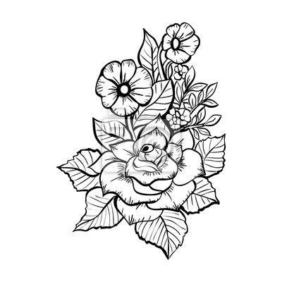 Recznie Rysowane Kwiaty Czarno Bialy Bukiet Z Rozami Na Obrazach Myloview Najlepszej Jakosci Fototapety N Hand Drawn Flowers How To Draw Hands White Bouquet