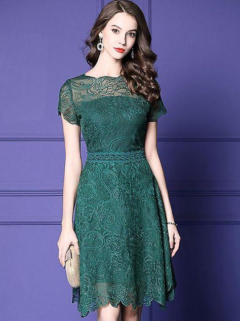4fc1691d4044 Buy Lace Embroidery O-Neck Short Sleeve Falbala A-Line Dress, Fashion  Designed Lace Embroidery O-Neck Short Sleeve Falbala A-Line Dress with High  Quality ...