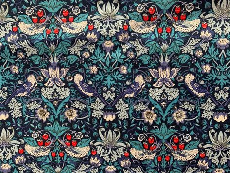 "Liberty of London ""Strawberry Thief"" cotton Tana Lawn fabric, blue, sold by the half yard"