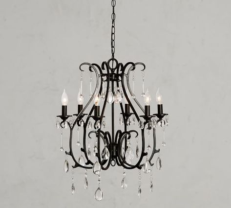 Rustic Glass Shade 5 Light Faux Crystal Chandelier