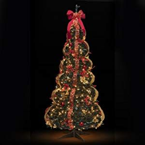 Amazon Com Christmas Tree Fully Decorated Pre Lit 6 Ft Pull Up Pop Up Out Of Box Ready Minimal As Best Artificial Christmas Trees Christmas Tree Holiday Decor