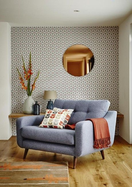 Round Copper Wall Mirror And Wallpaper Combination Modern Living Room    Modern Decor