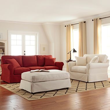 Linden Street Friday Twill Slipcovered Sofa Group Jcpenney Much Less Expensive Option