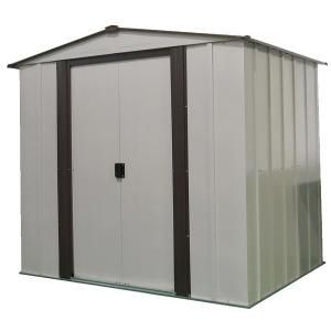 Arrow 6 Ft W X 5 Ft D X 5 5 Ft H Newburgh Galvanized Steel Storage Shed In Coffee Eggshell With Uv Resistant Panels Nw65 The Home Depot In 2020 Steel Storage Sheds