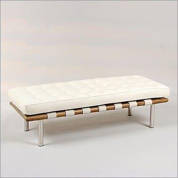 Brilliant Mies Style Exhibition 2 Seat Bench Cream White Leather In Machost Co Dining Chair Design Ideas Machostcouk