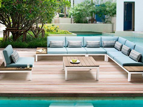 PEBBLE BEACH Lounge Applebee Alu Weiß \ Stoff Ocean #garten