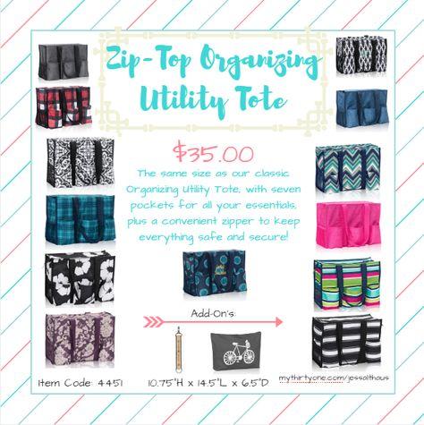 Zip-Top Organizing Utility Tote