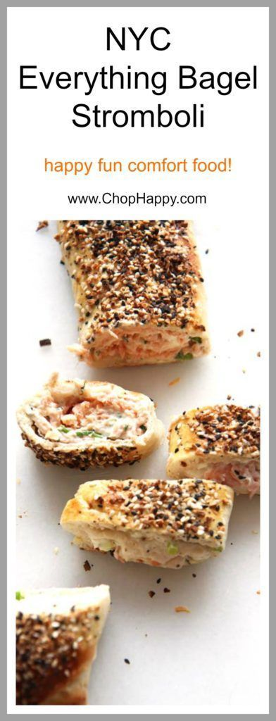 NYC Everything Bagel Stromboli Recipe - is so easy and every bite transforms you to a NYC bagel shop. Grab everything bagel seasoning, smoked salmon, cream cheese, and fun herbs. This will be your go to comfort food dinner recipe. Happy Cooking! #chophappy #bagelrecipe #bagelstromboli #everythingbagel