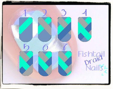 Nailderella: Sunday Nail Battle: Fishtail braid nails tutorial -- really want to try this nail art! Colorful Nail Designs, Gel Nail Designs, Makeup Designs, Colorful Nails, Art Designs, Nail Color Combos, Nail Colors, Ten Nails, Tribal Nails