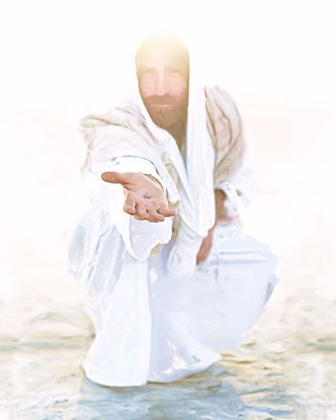 photograph of jesus christ squating reaching out mark of the nail in his hand white robe over-exposed