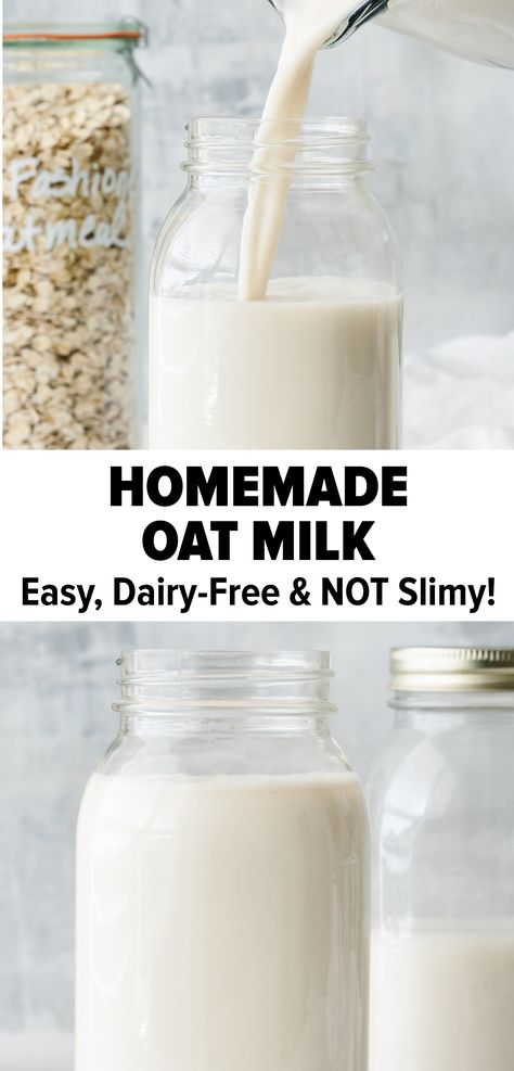 Best Oat Milk Recipe (Not Slimy + Secret Trick!) Oat milk that's not slimy! This is the best homemade oat milk recipe that's creamy, delicious, dairy-free, nut-free, and vegan milk. Watch the video for all the tips and my secret trick! Milk Recipes, Dairy Free Recipes, Vegan Recipes, Gluten Free, Oats Recipes, Weight Watchers Desserts, Healthy Smoothie, Smoothie Recipes, Healthy Food