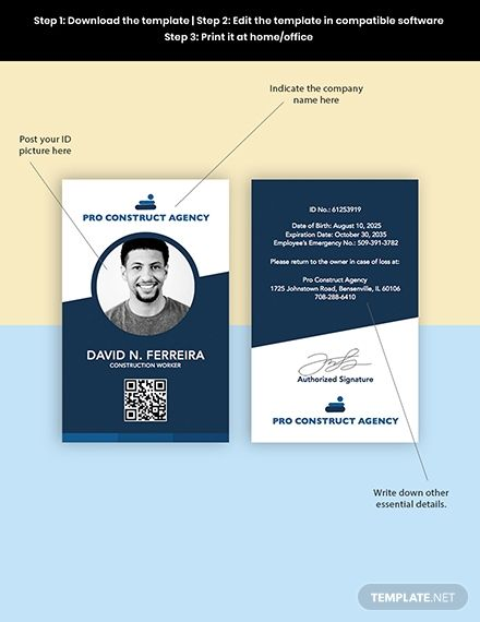 Worker Id Card Template Pdf Word Doc Psd Apple Mac Pages Illustrator Id Card Template Card Template Templates